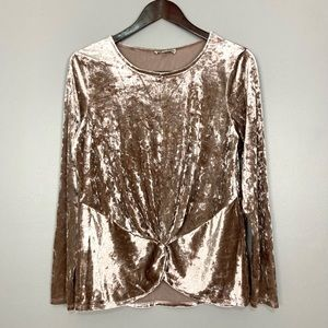 Pleione Crushed Velvet Blouse Knot Front Top